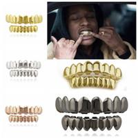 гриль-вечеринка оптовых-Позолоченные хип-хоп зубы Grillz с верхом нижний гриль набор партии косплей вампир грили наборы OOA4856