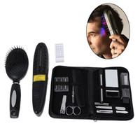 terapia de cabelo a laser venda por atacado-Escova de cabelo Pente Tratamento A Laser Power Grow Comb Kit 2017 Preto Parar A Perda De Cabelo Conjunto de Massagem Ferramentas Regeneração Quente Terapia ferramentas de barbeiro
