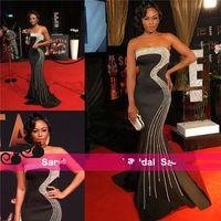 vestidos de noite de anfitrião venda por atacado-Bonang Matheba Celebrity Evening Vestidos Sul Africano TV Apresentador Declaração Pageant Vestidos para Mulheres Frisado Miss Universo Desgaste Venda