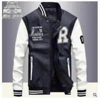 Wholesale college outerwear - Wholesale- Kenntrice Autumn Winter Youth Varsity Leather Jacket Men College Jackets Men's Outerwear Printed PU Leather Coats Bomber Jacket