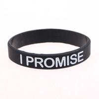 силиконовые браслеты оптовых-Fashion Bracelet For Men Women I PROMISE Black Silicone Bracelets & Bangle Power Bands Energy Wristbands Jewelry Simple Design