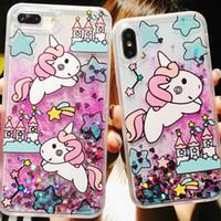 caja del teléfono brillo unicornio al por mayor-Glitter Liquid Quicksand Fundas de teléfono para iPhone 6 6s Plus Bling Unicornio Water Sequins Paris para iPhone 7 8 Plus X Case 100pcs