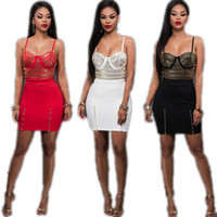 Wholesale blazers wholesale - New Fashion Women Lace Sleeveless Sequin Vest Crop Tops+Zipper Mini Dress Skirt Two Pieces Set Sexy Party Dress Clubwear