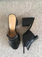 ingrosso sandali di grandi dimensioni della ragazza-2018 nuovo design moda donna scarpe tacchi spessi sandali in pelle nera ragazze tacco casual diapositive signora rosso verde scarpa grande formato 34-42 41 # G18