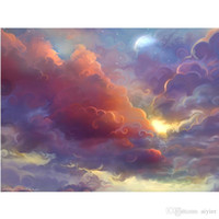 Wholesale paintings clouds resale online - 5D DIY Diamond Painting Full Square Round Diamond Embroidery Art Sky Colorful Clouds Fashion Craft Set Home Decoration