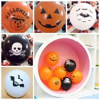 Wholesale pumpkin toys supplies - 12inch Halloween pumpkin latex ballons Pumpkin bat ghost halloween decor Orange Black balloons supplies Party Decor props FFA721