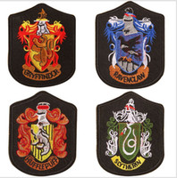 Wholesale harry potter fabric for sale - Harry potter school Badges Four college Gryffindor Movie TV Costume Party Baseball cap patches sewing slytherin Ravenclaw Hufflepuff