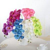 ingrosso fake green orchids-Moda Orchidea Fiori Artificiali FAI DA TE Artificiale Farfalla Orchidea Seta Fiori Finti Bouquet Artificiale Verde Farfalla Orchidea Foglia 0208