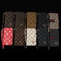 geldbörse telefon fallmix großhandel-Leder brieftasche telefon case luxury classic plaid flip abdeckung case mit kartensteckplätze holster für iphone x 7 plus samsung s9 plus s8
