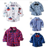 Wholesale collars for blouses for sale - 14 Colors Kids Boys Autumn Plaid Shirts Fashion Long Sleeve Cotton Blouse with Bow Tie for Baby England School Gentleman Trend Clothing Top