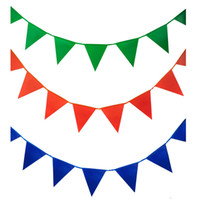 Hot selling Color 70 M 180 flags banner Satin wedding decoratio White Green flags Christmas birthday party supplies Bunting flags verjaardag slingers