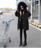 Wholesale High End Down Coats - 2017 new high-end luxury oversized fur collar black down jacket women Slim long thick coat Korean version of the trend