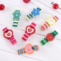 holzuhr für kinder großhandel-Kinder Holzspielzeug Uhren Kinder spielen Uhr, Uhr Armbänder Cartoon Baby Spielzeug C4570