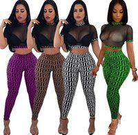 Wholesale womens golf clubs resale online - Womens slim club suit short sleeve pullover gauze blouse skinny long pants piece set outfits fashion sexy club wear hot klw89