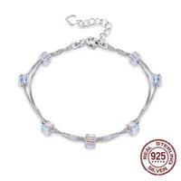 braceletes de encanto de ligação de cadeia pequena venda por atacado-S925 Sterling Silver Chain Link Strand Pulseiras LEKANI Cristais De Pequeno Quadrado Charme Mulheres Jóias
