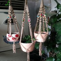 Wholesale Garden Products - Wholesale-Hand-Woven Macrame Plant Potting Hanger Flowerpot Holder Garden pot Lifting Rope String Garden Balcony Plant Product GB0041