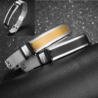 neue mesh-schmuck großhandel-2 Farben Fashion Einfache Glatte Mesh Armband Für Männer Schwarz / Gold Farbe Edelstahl Delicate Armband Schmuck Geburtstagsgeschenk Neue G878F