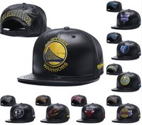 Wholesale leather logo sports hats caps - 2018 New warriors Flat Baseball Hats For Men Women Top Quality Full Black Leather Snapback Hat Embroidered logo Sport Adjustable Caps
