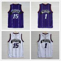 Wholesale stripe sleeveless - Vince Carter Tracy McGrady Jersey Toronto Baeketball Jerseys Home Away White Purple Pinstripe Stripe Size S M L XL 2XL