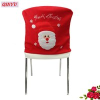 Wholesale white linen table cloth - Christmas Santa Claus Chair Covers Cap Chair Cover Christmas Dinner Table Party Red Hat Back Covers Xmas Decor 8ZHH144