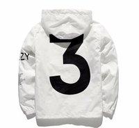 patrón de skate al por mayor-Nueva marca de diseñador chaqueta de moda rompevientos con el patrón 3 de lujo para hombre chaquetas ropa mujer con capucha monopatín Streetwear ropa blanca