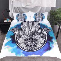 двуспальные кровати оптовых-Hamsa Hand Printed Bedding Set King Queen Twin Size  3pcs white Bed Duvet Cover Single Double Sheets Set Linen Bedspreads