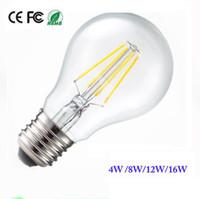 bombilla a19 al por mayor-Bombillas led Brillantes E27 Led Bombillas de filamento Luz 360 Ángulo A60 A19 Lámpara Edison regulable 4W / 8W / 12W / 16W 110-240V 3 años