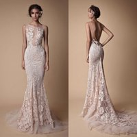 Wholesale backless fishtail prom dress resale online - Berta Lace Applique Mermaid Evening Dresses Wear Sheer Neck Backless Full length Custom Make Fishtail Prom Pageant Gowns Cheap