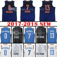 3b0236707 0 Russell Westbrook Jersey 2018 Nouveau 13 Paul George 7 Carmelo Anthony  Maillots de Basket Broderie Logos 100% Cousu