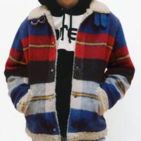 erkek shearling toptan satış-17FW Ekose Shearlıng Kutusu Logosu Bombacı Erkekler Kadınlar Rahat Sokak Kaykay Hip Hop Ceket Spor Dış Giyim Ceket HFLSJK134
