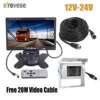 """7"""" LCD Monitor Car Rear View Kit + White 4Pin CCD Reversing Parking Backup Camera with 20M Cable for Bus Truck Motorhome 12V-24V"""