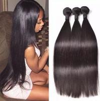 işlenmemiş saç toptan satış-8A Brezilyalı Bakire Saç Düz 100g pc Işlenmemiş Brezilyalı İnsan Saç Paketler Demetleri Doğal Siyah Renk Mevcuttur