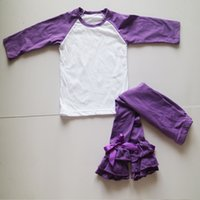 Wholesale Legging Baby Girl Black White - Purple Baby Girl Suit Set 2 Pieces Clothing Long Purple Icing Legging Tights Long Sleeve O-Neck Raglan Shirts