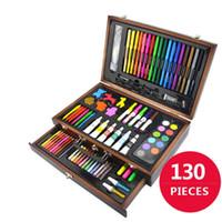 jeu d'outils en bois pour enfants achat en gros de-130 pièces de crayons à dessin crayons de couleur crayons crayon cas art peinture ensemble pour enfants enfants avec cas en bois art dessin outils