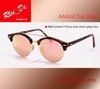 sunglasses white glass circle Australia - Top Quality Round Half Frame Glass Lens Sunglasses Womens Mens Sunglasses Retro Hinge Eyewear Leopard 51MM Circle Plank Shade SunGlass Case