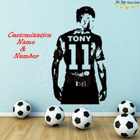Wholesale football room designs - Name Art Design Football Player Cheap Home Decoration PVC Wall Sticker Removable Vinyl House Decor Soccer Sports Room Decals