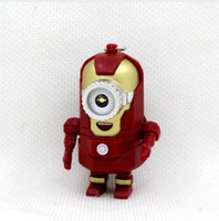 Wholesale minion bags - LED Minions keychain, hot movie Keychains with sound, Hero alliance Keychains Cos iron man minions Keyring
