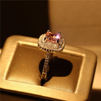 Wholesale middle finger rings for sale for sale - Group buy Women Silver Plated Ring Pink Sapphire CZ Diamond Finger Rings for Bride Wedding Engagement Jewelry Hot Sale Party Gift Size