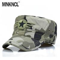 gorras de cadetes del ejército al por mayor-MNKNCL 2018 Nuevos Hombres Caps Snapback Vintage Army Hat Cadete Cap Ajustable Cinco Puntas Estrella Flat Top Camuflaje sombreros