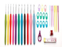 Wholesale needle grips resale online - Arts new set Crochet Hooks Set Yarn Hand Knitting Needles with Rubber Grip For Needlework DIY Sewing Smooth Stitch Weave Craft