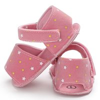 детские сандалии для новорожденных оптовых-Summer Baby Boy Sandals Little Star Scrub Cloth Flat Sandals Comfort Newborn Baby Girl Shoes