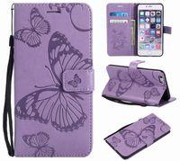 billetera de oro galaxy al por mayor-3D Imprint Cartera de cuero para Huawei P20 Lite Enjoy 7S Y5 Galaxy S9 Plus A8 2018 Tarjeta de identificación de mariposa Luxury Flip Cover Rose Gold Strap