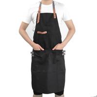 ingrosso grembiuli da ginnastica neri-Grembiuli per donna Uomo Cucinano grembiuli da lavoro Lavorazione Clothiing Uomo Cucina Ristorante Grembiule regolabile Shop Chef Abbigliamento da lavoro Nero