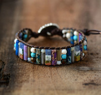 Wholesale Women Boho Bracelet Tube Shape Natural Stone Single Leather Wrap Bracelet Semi Precious Stone Beaded Cuff Bracelet Dropship