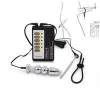 vibrador para sonar al por mayor-Los juguetes eróticos de choque eléctrico Butt Anal Plug Match Sonidos uretrales Vibrador uretral Anillo del pene Electro Juguetes sexuales para hombres.
