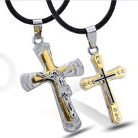 pingente de titânio jesus cruz venda por atacado-Europa e nos Estados Unidos moda clássico jóias atacado pingentes de Jesus Cristo titanium clavícula ch minimalista clavícula ch