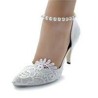 туфли на высоком каблуке оптовых-Handcrafted Pump Lace Flower Bridal Shoes Pointed Toe Wedding Party Dancing Shoes Красивые ботинки для подружки невесты Женщины с высоким каблуком EU35-42