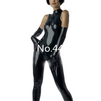 Wholesale sexy green catsuit online - Sleeveless Latex Catsuit Sexy Black Tight Leotard For Women Back Zip Latex Costumes No gloves