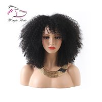 Wholesale full lace wigs resale online - Afro Kinky Curly Short Bob Wigs For Black Women Brazilian Remy Hair Full Lace Human Hair Wigs Pre Plucked With Baby Hair