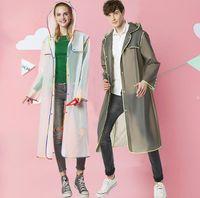 Wholesale women long rain coat - 4 Colors Rainwear Transparent Hooded Raincoat Adult Rain coat Waterproof Poncho Jacket Women Men's Long Sleeve Hooded EEA444 30pcs
